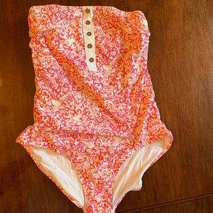 Lilly Pulitzer one piece strapless swimsuit Sz 10